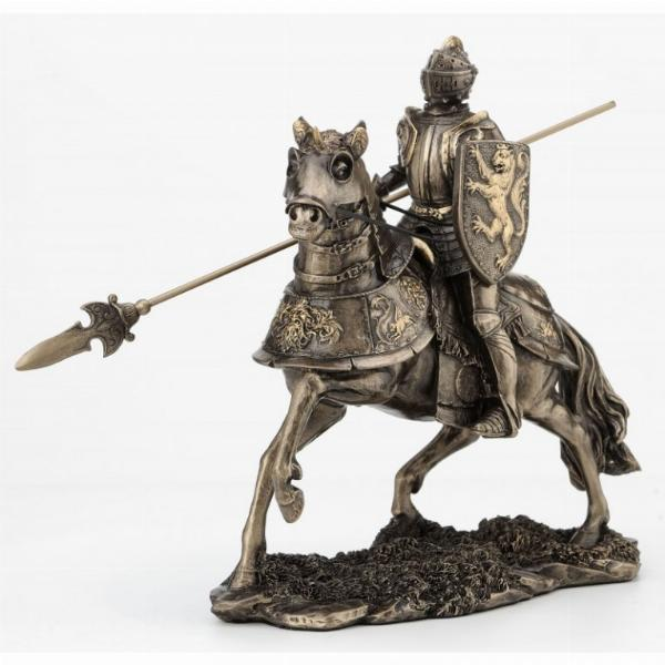 Photo of Knight on Horse with Spear Bronze Figurine