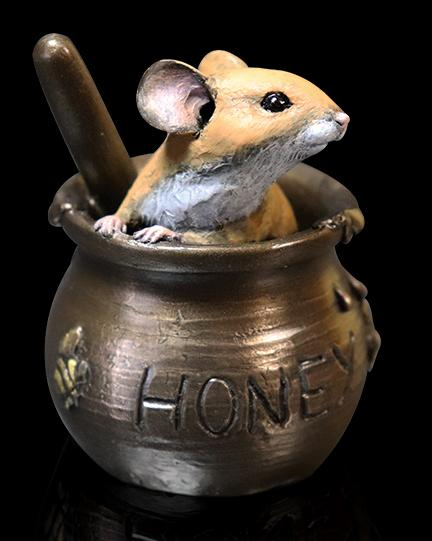 Photo of Mouse in Honey Pot Bronze Figurine Michael Simpson