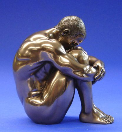 Photo of Nude Man Sitting Bronze Figurine 12 cm