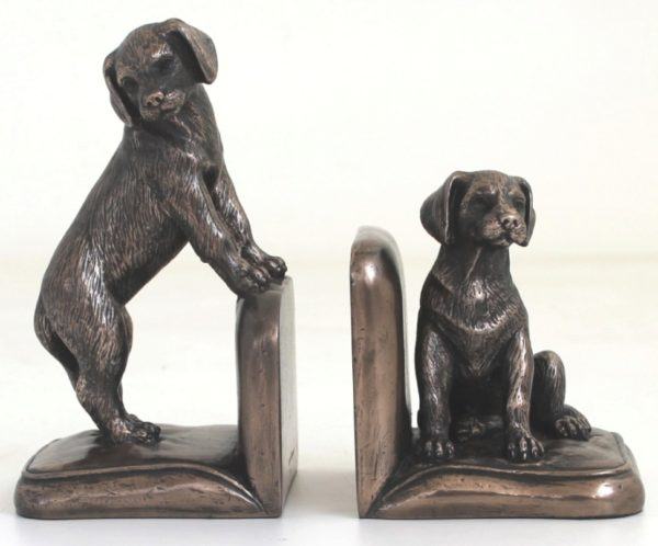 Photo of Puppy Bookend Bronze Sculptures