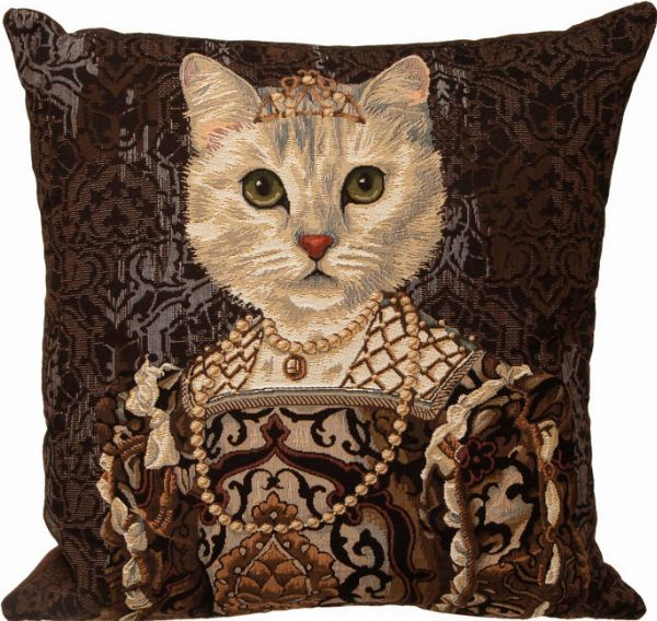 Phot of Royal Cat with Crown II Tapestry Cushion