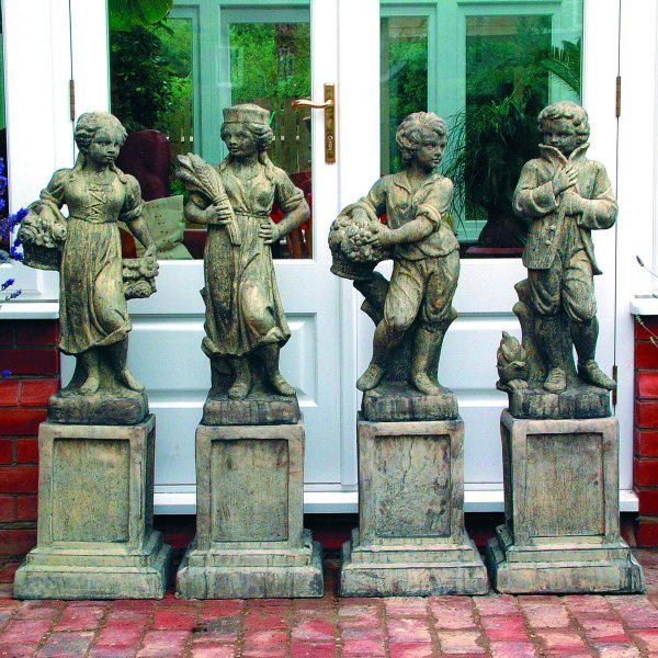 Photo of Set of 4 Seasons Stone Statues with Plinths