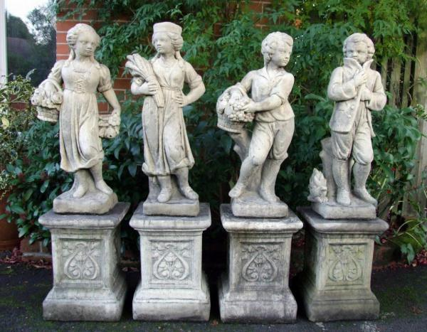 Photo of Set of 4 Traditional Seasons Stone Statues