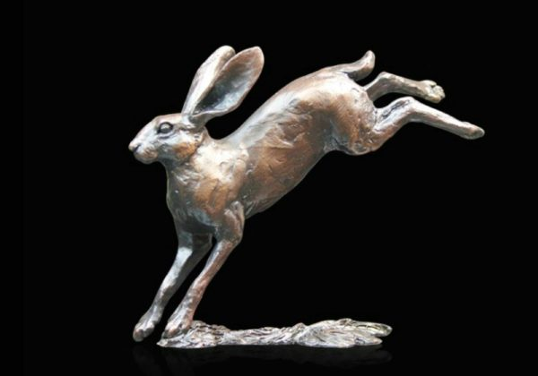 Photo of Small Hare Leaping Bronze Figurine (Limited Edition) Michael Simpson
