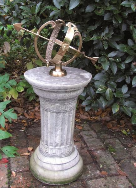 Photo of Small Stone Column with Brass Armillary