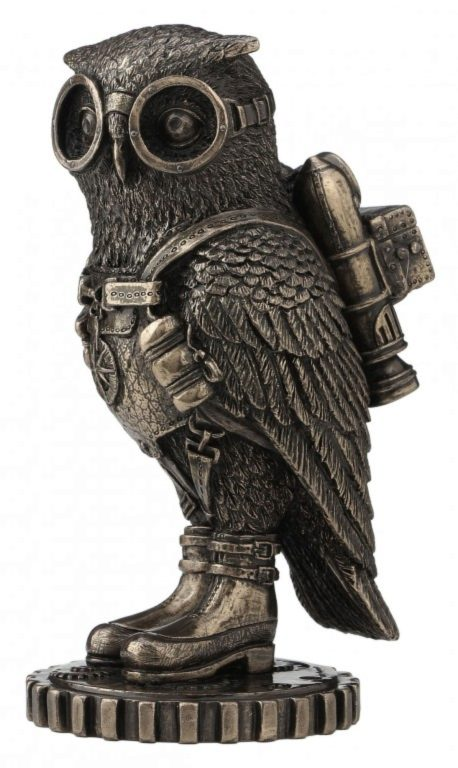 Photo of Steampunk Owl Bronze Figurine 16 cm