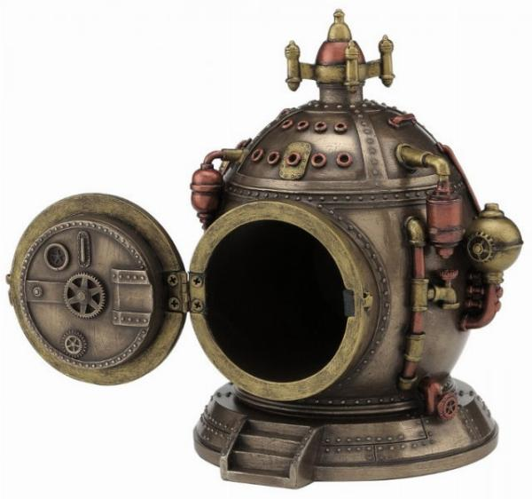 Photo of Steampunk Time Clock Bronze Figurine with Secret Compartment 15.5cm