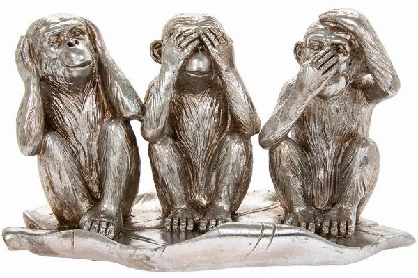 Photo of Three Wise Monkeys Silver Ornament Leonardo Collection