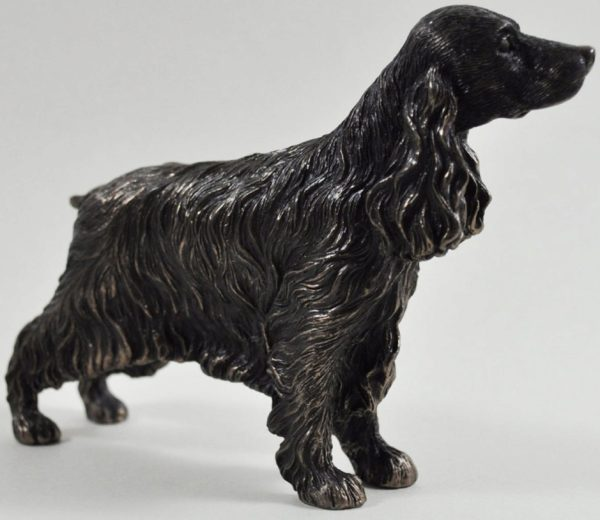 Photo of Cocker Spaniel Standing Bronze Dog Sculpture Small