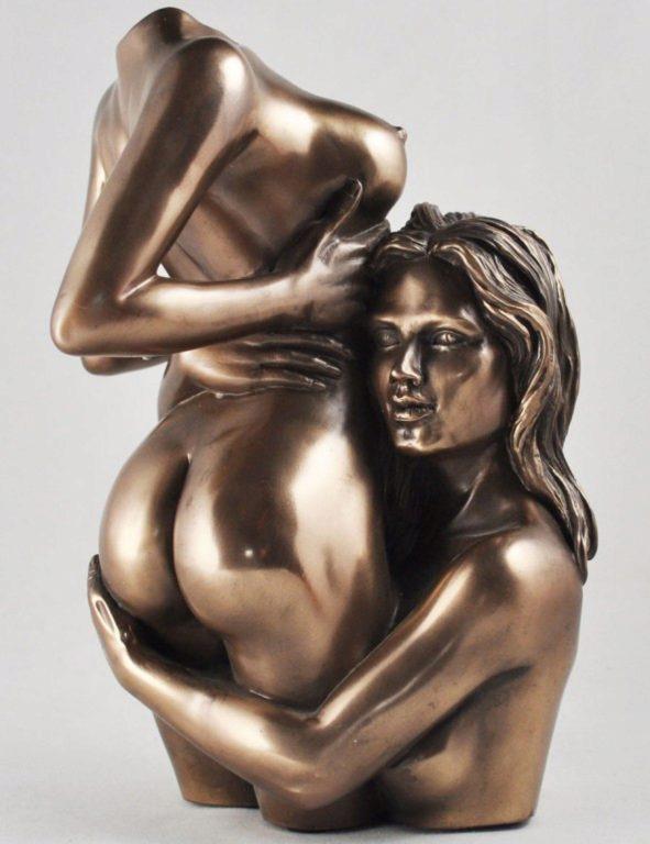 Photo of Desire Nude Female Lovers Bronze Figurine (Love is Blue) 20 cm