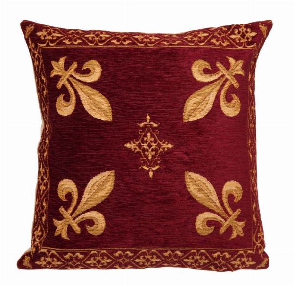 Phot of Fleur de Lys Angle Red Tapestry Cushion