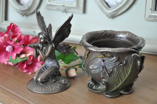 Photo of Flower Fairy Drinking Trinket Pot with Lid Bronze 18 cm