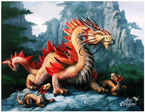 Photo of Gold Mountain Dragon Canvas Picture (Anne Stokes) 25 x 20 cm