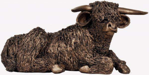 Photo of Highland Bull Resting Bronze Figurine Large