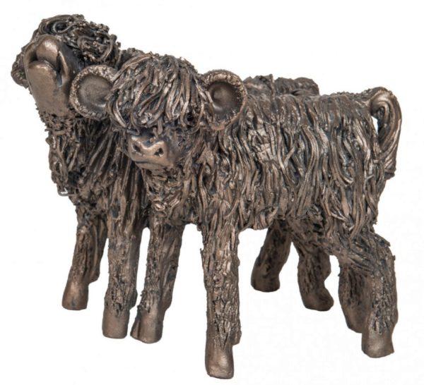 Photo of Highland Cattle Heifer Calves Bronze Sculpture
