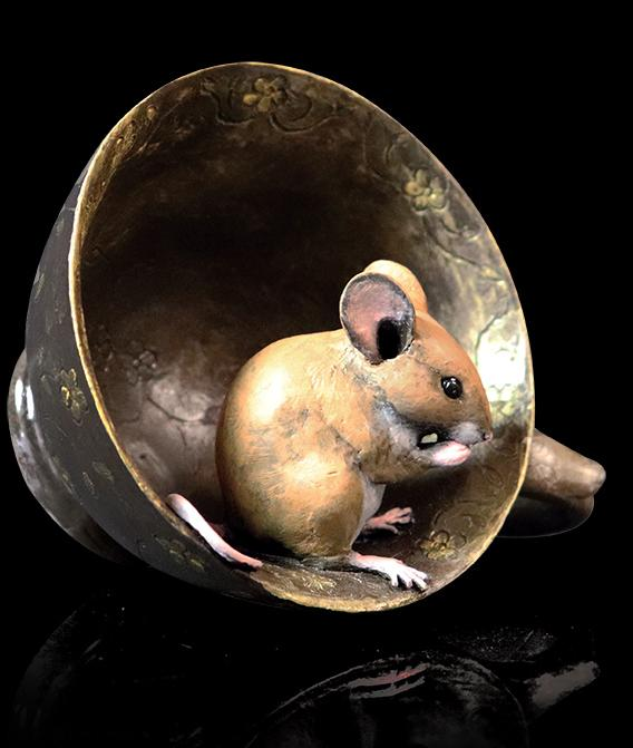 Photo of Mouse in Tea Cup Bronze Figurine Michael Simpson
