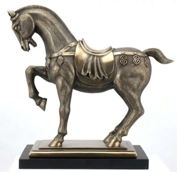 Photo of Ornate Horse Bronze Figurine on Black Base