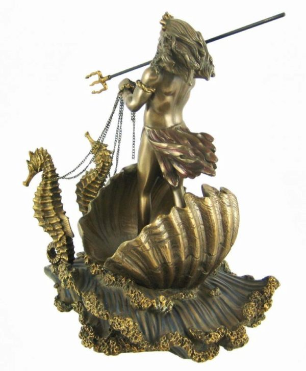 Photo of Poseidon God of the Sea Seahorse Chariot Bronze Figurine 30 cm