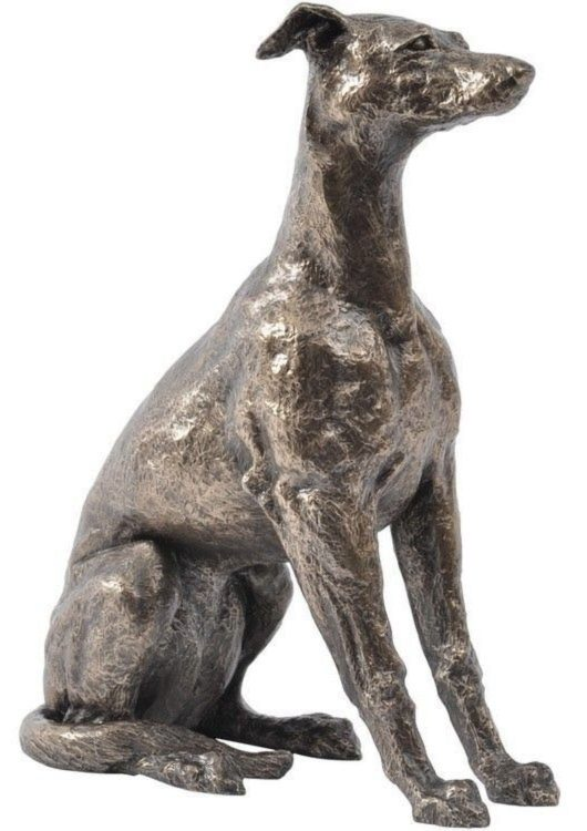 Photo of Sitting Whippet Dog Bronze Sculpture John Piper 34 cm
