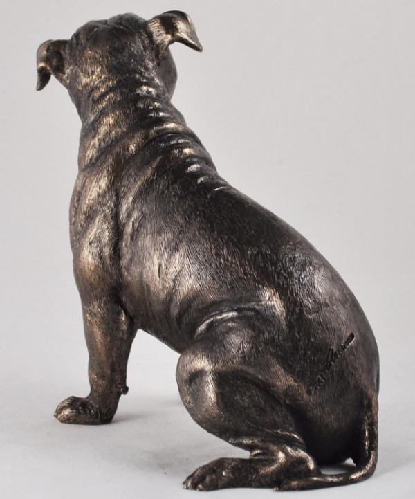 Photo of Staffordshire Bull Terrier Dog Sitting Bronze Sculpture