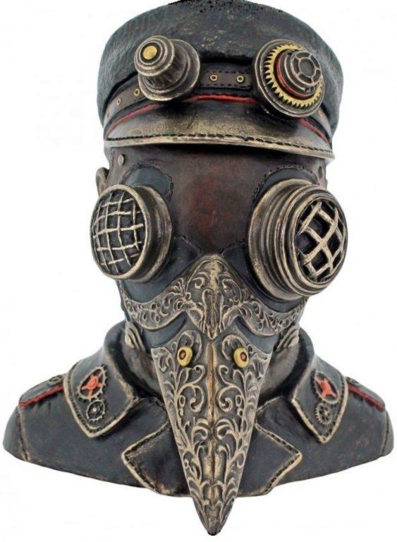 Photo of Steampunk Plague Doctor Bronze Figurine Secret Box 15.5cm