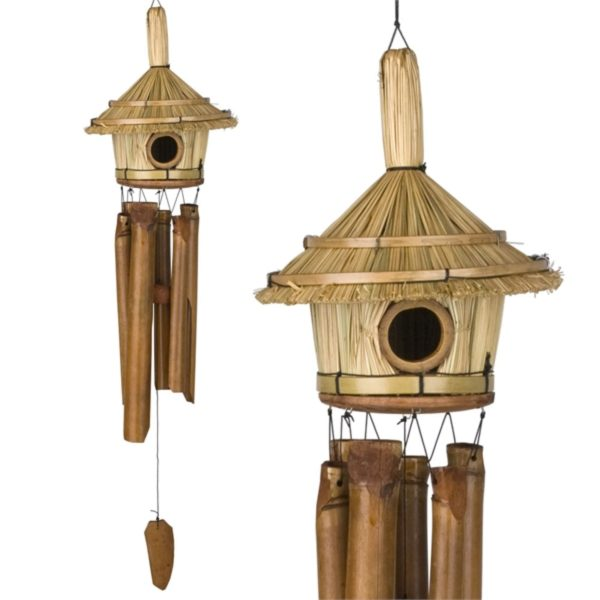Photo of Thatched Roof Birdhouse Bamboo Chime Woodstock Bamboo