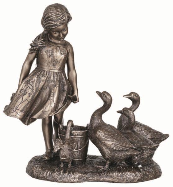 Photo of The Goose Girl Bronze Figurine 21.5cm
