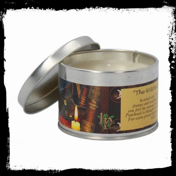 Photo of The Witching Hour Tin Scented Candle - Patchouli (Lisa Parker Cat Artwork)