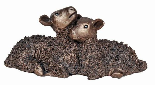Photo of Twin Lambs Bronze Sculpture 18 cm Medium