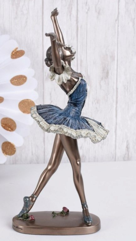 Photo of Dancing Ballerina Blue Dress Bronze Figurine 27 cm