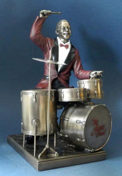 Photo of Drummer Jazz Bronze Figurine