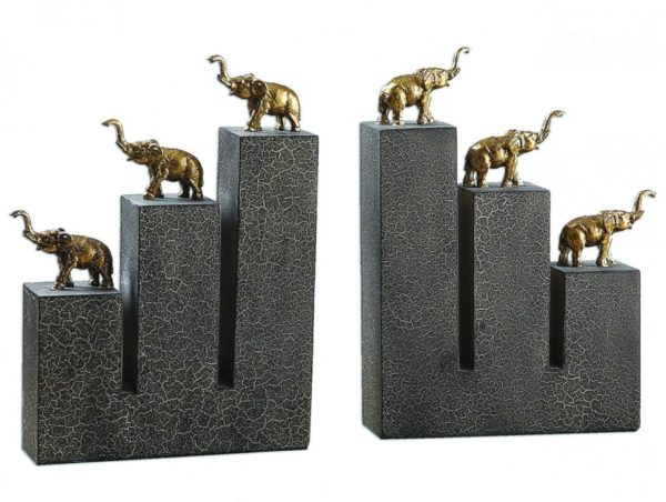 Photo of Elephant Bronze Bookends (Set of 2)