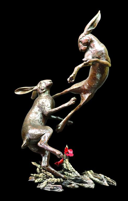 Photo of Hares Boxing Bronze Figurine Limited Edition Michael Simpson