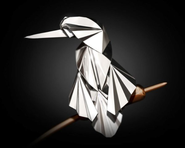 Photo of Kingfisher Hallmarked Sterling Silver and Bronze Figurine NOMI Design