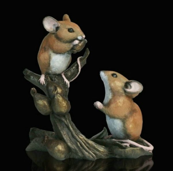 Photo of Mice with Rosehips Bronze Figurine Michael Simpson