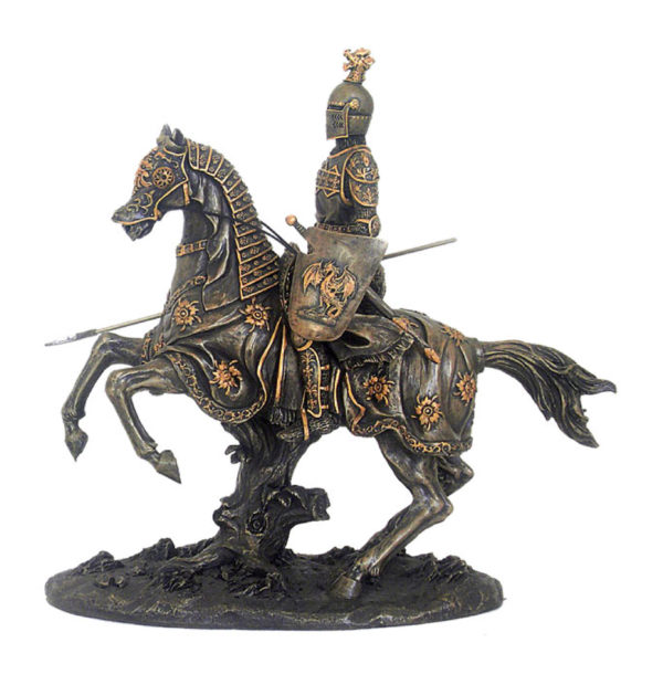 Photo of Mounted Knight with Spear and Shield Bronze Figurine