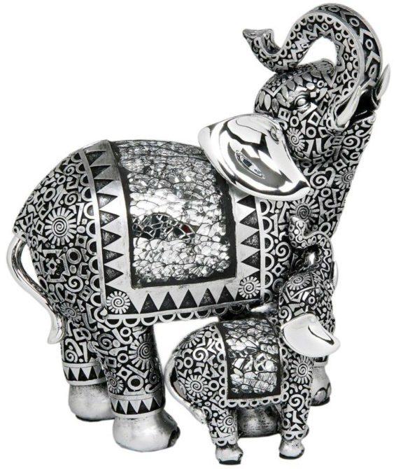 Photo of Silver Elephant and Baby Figurine (Leonardo)