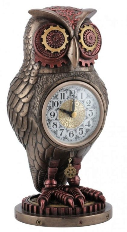 Photo of Steampunk Owl Heavyweight Clock Bronze Figurine 27 cm