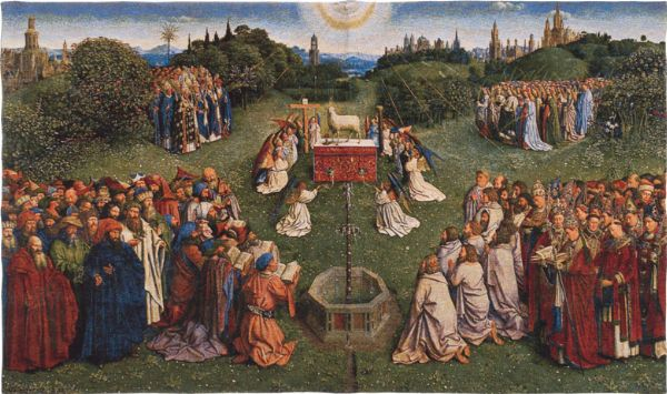 Phot of The Adoration Of The Mystic Lamb By Jan Van Eyck Wall Tapestry