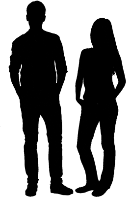 Average sized man and woman for size comparison